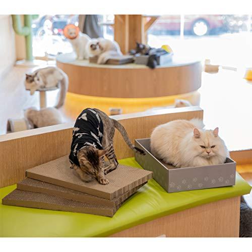 """WellQ 12"""" XL Wide Cat Scratcher Cardboard 4PCS Reversible Cardboard Cat Scratching Pads with Cat Scratcher Box…"""