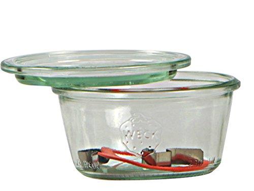 Weck Vasetto 370 ml con Coperchio da 100 mm, Completi di Guarnizione e Clips, Scatola da 6 Pezzi, Vetro, Trasparente
