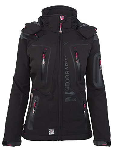 Geographical Norway Damen Softshell Funktions Outdoor Regen Jacke Sport [GeNo-20-Schwarz-Gr.L]