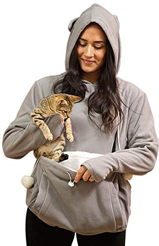 KITTYROO Cat Hoodie, The Original AS SEEN ON TV Kitty Carrying Sweatshirt, with Super Soft Kangaroo Pet Pouch (Large) Grey
