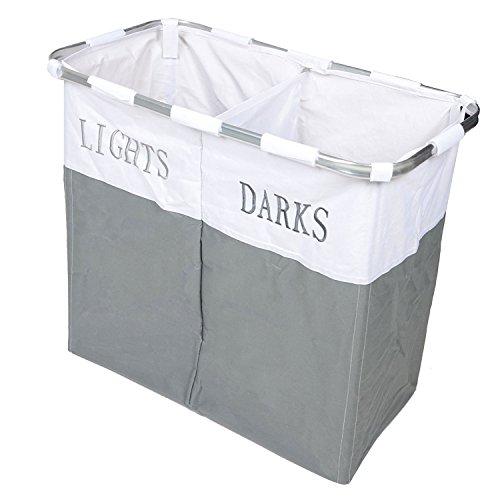 COUNTRY CLUB Lichter und Dark zusammenklappbar Laudry Korb Waschtücher Aufbewahrungsbox, Metall, grau/weiß