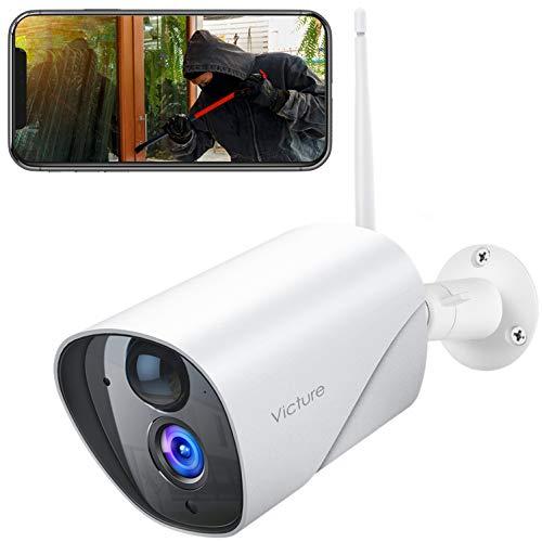 Victure FHD 1080P Telecamera Wifi Esterno, Telecamera IP di Sorveglianza, Rilevamento PIR, Telecamera Statica Impermeabile e Antipolvere, Audio Bidirezionale, Visore Notturno