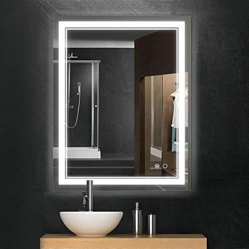 Keonjinn 36 x 28 Inch Bathroom LED Vanity Mirror Anti-Fog Wall Mounted Makeup Mirror with Light...
