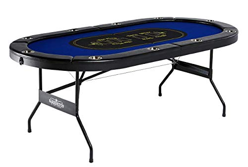 BARRINGTON BILLIARDS COMPANY BILLIARDS Texas Holdem Poker Table for 10 Players with Padded Rails and Cup Holders - Blue