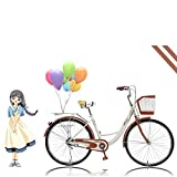 【US Fast Shipment】 2021 New 26 inch Beach Cruiser Bike for Women, High Tensile Carbon Steel Commuting Bike, Sigle-Speed City Bicycle with Basket (White)