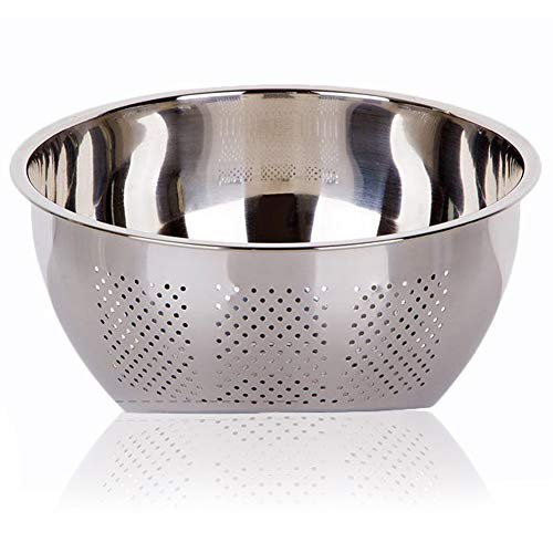Joyoldelf Stainless Steel Rice Washing Bowl, Versatile 3-In-1 Colander and Kitchen Strainer with Side Drainers for Rice, Vegetables & Fruit
