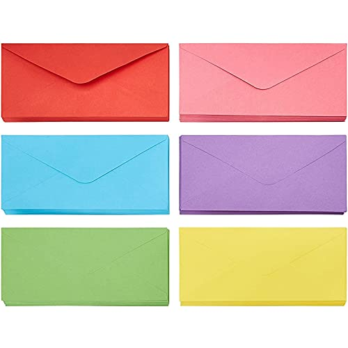 Business Envelopes - 120-Pack #10 Envelopes, Standard V-Flap Envelopes for Holiday, Office, Checks, Invoices, Letters, Mailings, Windowless Design, Gummed Seal, 6 Assorted Colors, 4-1/8 x 9-1/2 Inches