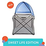 Summer Pop 'n Play SE Cube Playard, 4-Sided, Sweet Life Edition, Blue Raspberry Color – Full Coverage Play Pen for Indoor and Outdoor Use - Fast, Easy and Compact Fold