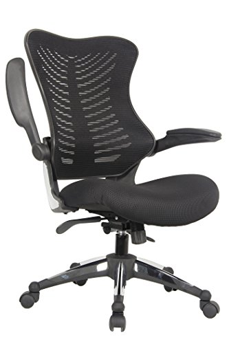 Office Factor Executive Ergonomic Office Chair Back Mesh On Seat and Back Flip-up Arms Molded Seat with a 55kg Foam Density Double Handle Mechanism (Black MESH Fabric SEAT)