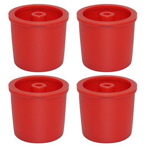 Homyl 4 Pz Tazza Capsule Di Caffè Filtri Riutilizzabili In Plastica Acciaio INox - Rosso, 38x36mm