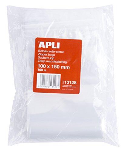 APLI 13128 - Pack de 100 bolsas de plástico con autocierre,