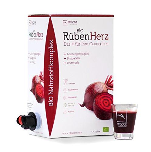 fitrabbit Bio Rüben Herz - para la presión arterial, vasos sanguíneos y rendimiento. orgánico. Concentrado de remolacha + granada + cereza agria + hierbas y especias + acerola (1 bolsa de 3 Litros)