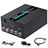 EASYCEL HDMI to Component Converter with HDMI and Component Cables, 1080P Aluminum HDMI to RGB Converter, HDMI to YPbPr 5RCA Converter with Scaler Function