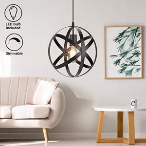 Industrial Metal Pendant Light, Dimmable E26 LED Bulb, 11.8'' Rustic Chandelier Spherical Light, Vintage Black Hanging Cage Globe Ceiling Fixture for Kitchen Island Living Room Dining Room Farmhouse