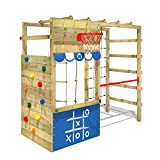 WICKEY Aire de jeux Portique bois Smart Action bleu, Échafaudage grimpant avec...