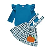 Halloween Thanksgiving Baby Girls Clothes Ruffle Fly Sleeves Top+Pumpkin Strap Dress Skirt Toddler Outfit (Blue Sets, 3-4 Years)