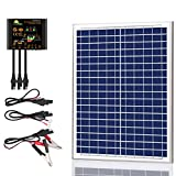 SUNER POWER 20 Watts 12V Off Grid Solar Panel Kit - Waterproof 20W Solar Panel + Photocell 10A Solar Charge Controller with Work Time Setting + SAE Connection Cable Kits