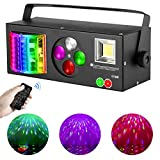 DJ Lights Sound Activated, RGBW Strobe Party Disco Lights with Remote, 4 in 1 Multi-effects Pattern Projector Lights Compatible with DMX-512 for Home Dance Wedding Event Party