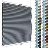 SchattenFreude Waben-Plissee nach Maß für Fenster & Tür | 100% verdunkelnd/Blackout | Zum Anschrauben in der Glasleiste | Anthrazit (Weiße Rückseite), Breite: 50-70cm x Höhe: 100-150cm
