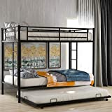 Merax Metal Bunk Bed with Trundle, Twin Over Twin Bunk Bed with Safety Guard Rails for Kids Teens Adults No Box Spring Required, Black