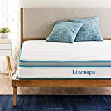 Linenspa 8 Inch Memory Foam and Innerspring Hybrid Medium-Firm Feel-Full Mattress, White