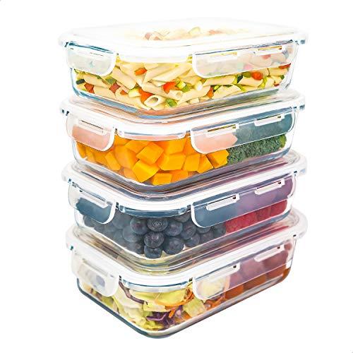 LG Luxury & Grace Lot de 4 Boîtes Alimentaires en Verre 1500 ML. Récipient Hermétique. Boîtes de Conservation pour Micro-Ondes, Four, Lave-Vaisselle et Congélateur. sans BPA.