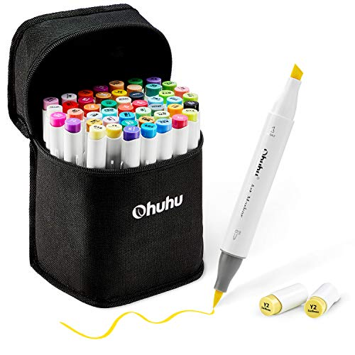48 Colors Alcohol Brush Markers, Ohuhu Double Tipped (Brush & Chisel) Sketch Markers for Kids, Artist Art Markers, Adult Coloring and Illustration, Bonus 1 Blender, Great Mother's Day Gift Idea