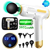 Massage Gun Muscle Neck Back Shoulder Massager- Handheld Deep Tissue Percussion Massager, Rechargeable Powerful Massager with 7 Massage Head Attachments & Portable Bag(Gold)