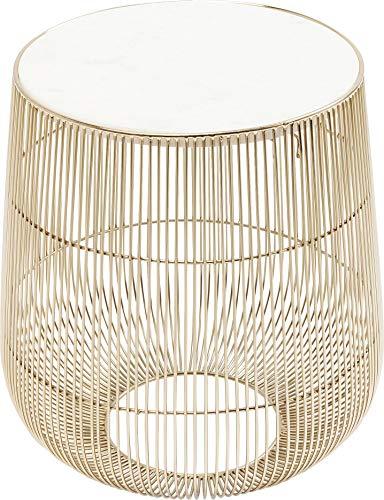 Kare Design Beam Marble Brass Tavolino, Bianco, 32Cm