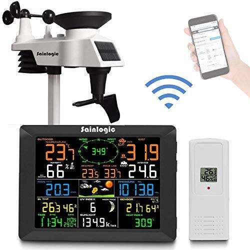 Station météorologique sans fil Sainlogic, station météo Internet WiFi intelligente avec grand écran couleur de 8 pouces, alarme synchronisée, capteur extérieur, prévisions météo
