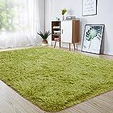 junovo Ultra Soft Area Rugs 4 x 5.3ft Fluffy Carpets for Bedroom Kids Girls Boys Baby Living Room Shaggy Floor Nursery Rug Home Decor Mats, Green