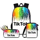 STTC Bolsa para La Escuela TIK Tok Mochilas Escolares Juveniles 3 Piezas Conjunto Bolsa Informal para Niño Niña Mochila Adecuado para La Escuela, El Ocio, Los Viajes,F