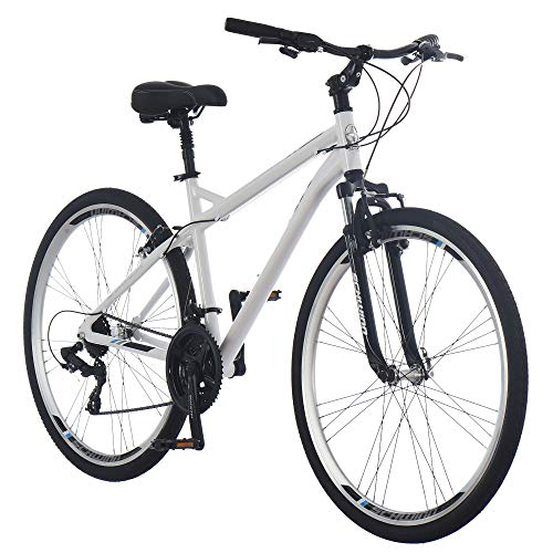 Schwinn Network 3.0 Mens Hybrid Bike, 700c Wheels, 21-Speed, 18-Inch Frame, Alloy Linear Pull Brakes, White