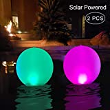 """Floating Pool Lights Inflatable Waterproof IP68 Solar Glow Globe,14"""" Outdoor Pool Ball Lamp 4 Color Changing LED Night Light, Party Decor for Swimming Pool,Beach,Garden,Backyard,Lawn,Pathway - 2 PCS"""