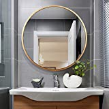 Leafmirror Round Wall Mirror Circle Metal Frame Large Vanity Hanging Decorative Mirrors for Entryway Living Room Bedroom Bathroom Home Modern (Gold, 32in)