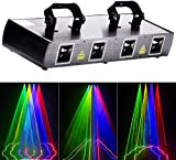 U`King Dj Light 4 Beam Sound Activated with Strobe Light RGBY LED Music Lights Party Lights DMX Control for Party Disco Dancing Stage Lighting