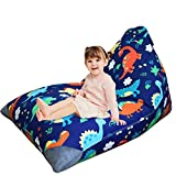 ABFace Stuffed Animal Storage Bean Bag Chair for Kids, Extra Large Bean Bag for Organizing Kids Room, Stuffie Seat with Premium Cotton Canvas, Bean Bag Cover - 200L/52 Gal, Dinosaur