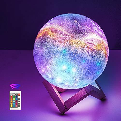 Mondlampe 15cm,OxyLED Sternenhimmel Dekoleuchte 3D Mondlampe mit Fernbedienung tragbares Nachtlicht...