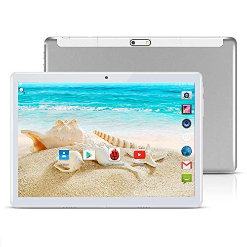 10 inch Google Android 8.1 Tablet Unlocked Pad with Dual SIM Card Slot 2.5D Curved Glass Touch Screen 4GB RAM 64GB ROM 3G Phablet Built-in Bluetooth WiFi GPS Tablets (Metallic Silver)