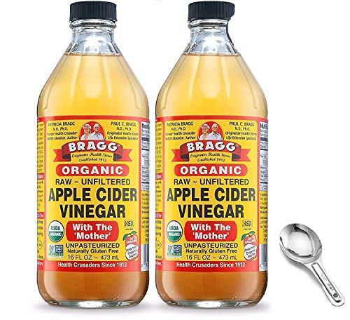 Bragg Organic Apple Cider Vinegar With the Mother– USDA Certified Organic – Raw, Unfiltered All Natural Ingredients, 16 Fl Oz Pack of 2 w/ Measuring Spoon