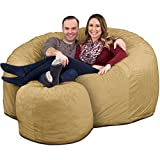 ULTIMATE SACK 6000 Bean Bag Chair w/Footstool: Giant Foam-Filled Furniture - Machine Washable Covers, Double Stitched Seams, Durable Inner Liner, and 100% Virgin Foam. Footstool Includ (Camel, Suede)