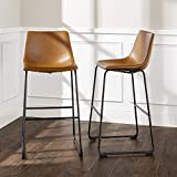 Walker Edison Furniture Company 30' Industrial Faux Leather Armless Indoor Kitchen Dining Chair Barstool with Metal Legs Upholstered, Set Of 2, Light Brown