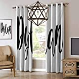RenteriaDecor Dylan Cafe Curtains Monochrome Arrangement of Letters Stylized Font Design Hand Drawn Typography Energy Saving & Noise Reducing Bedroom Curtains Black and White W96 x L108 Inch