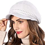 DENOTA フレンチベレー帽 レディース 冬用 ラズベリーベレー帽 ニットビーニー かぎ針編み帽子 BR014 US サイズ: Large カラー: ホワイト