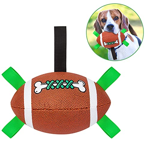Dog Toys Balls, NOLIENI Football Ball Interactive Dog Toys Can Be Used for Outdoor Tug of War, Swimming Pool Interaction, Relieve Dog Anxiety, Doze Off, Tear Down The House