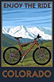 Colorado - Enjoy the Ride - Mountain Bike (12x18 Fine Art Print, Home Wall Decor Artwork Poster)