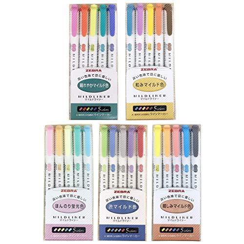Zebra Mildliner - Juego de rotuladores de colores pastel (25 unidades)