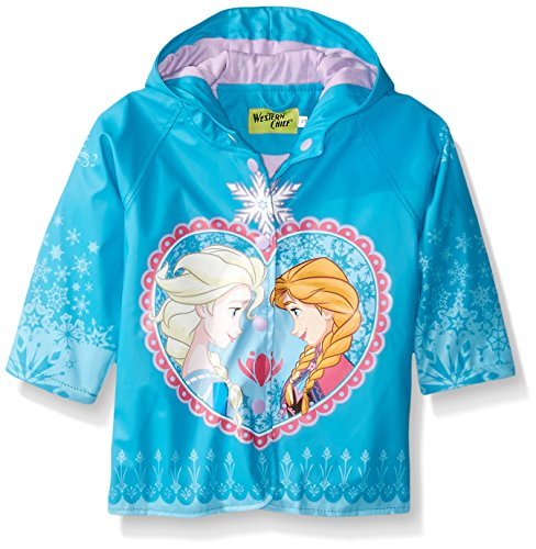 Western Chief Kids Disney Character lined Rain Jacket, Frozen Anna and Elsa, 4T