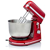 Ovente Electric Kitchen Stand Mixer with 3.7 Quart Portable Stainless Steel Mixing Bowl 6 Speed...