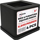 iPrimio Bed and Furniture Square Risers - 4 Pack 3 INCH Size - Wont Crack & Scratch Floors - Heavy Duty Rubber Bottom - Patent Pending - Great for Wood and Carpet Surface